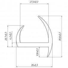 Уплотнитель дверей фургона 30 мм (аналог ПРФ 1.1)